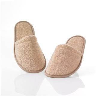 Terry Towelling Slippers, Closed Toe, Pair Latte One