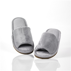 Washable Slippers, Open Toe Pair Silver Grey