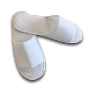 Best Value Polyester Open Toe Slippers, Pair White Pack of 100
