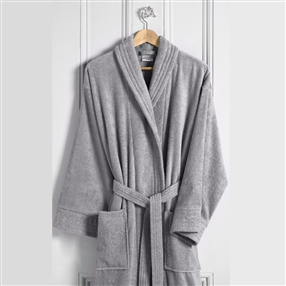 Terry Cotton Bathrobe Silver Grey