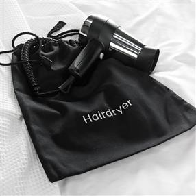 Hairdryer Bag, Black Cotton Drawstring One