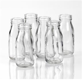 Glass Mini Milk Bottles 100ml Pack of 6 Without Lids
