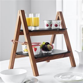 Acacia Wood Buffet Stand & Melamine Trays Black