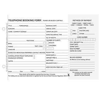 Telephone Booking Pad