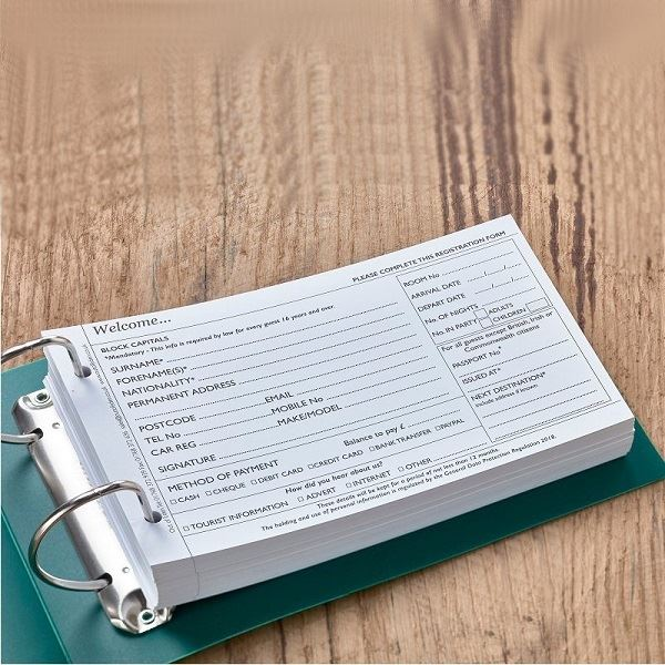 Guest Registration Forms Hotel Stationery Out Of Eden