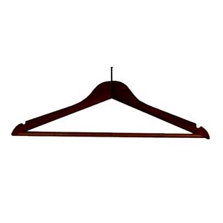 Wooden Security Coat Hanger Dark Wood