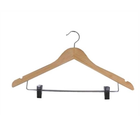 Wooden Coat Hanger With Clips Light Wood