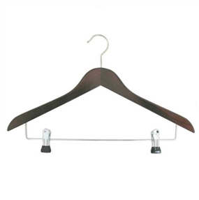 Wooden Coat Hanger With Clips Dark Wood