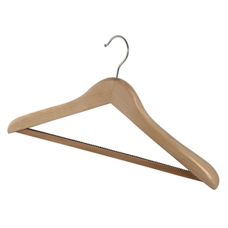 Deluxe Wooden Coat Hangers With Hook Light Wood
