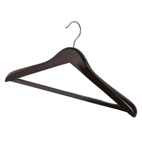 Deluxe Wooden Coat Hangers With Hook Dark Wood