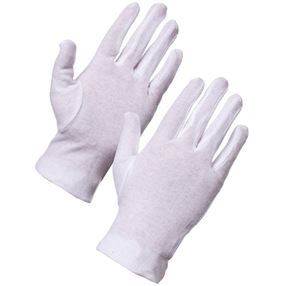 Supertouch White Cotton Gloves Medium - Pack of 10 Pairs