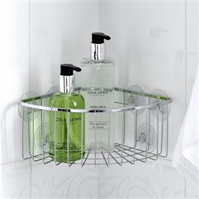 Stainless Steel Corner Shower Caddy with Suction Cups