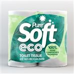 ECO Pure Soft 100% Recycled 2 Ply Toilet Rolls Pack of 40