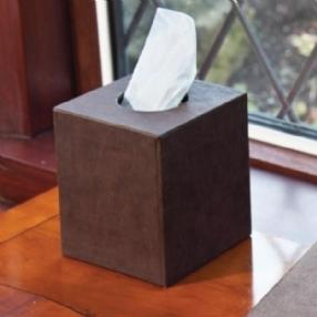 Textured Tissue Box Holder Brown