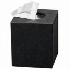 Textured Tissue Box Holder Black