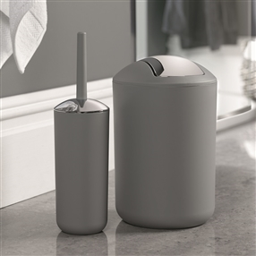 Brasil Bin & Toilet Brush Set Grey