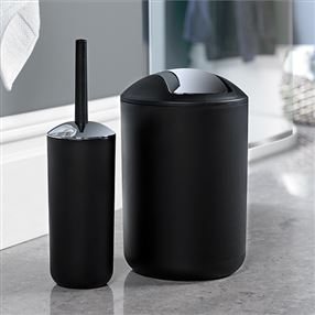 Brasil Bin & Toilet Brush Set Black