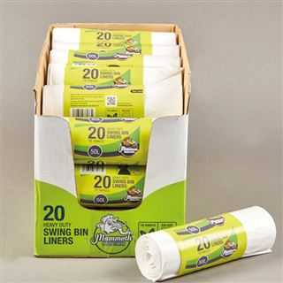 Mammoth Heavy Duty Swing Bin Liners, White, Tie Top, 20 Per Roll