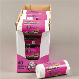 Mammoth Heavy Duty Pedal Bin Liners, White, Tie Top, 40 Per Roll