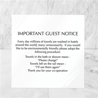 Towel Conservation Notice Hotel Guest Information Out