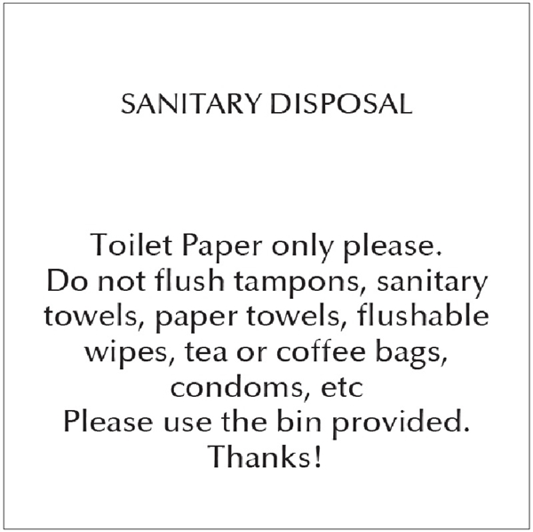 Sanitary Disposal Notice Guest Information Out Of Eden