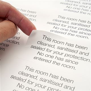 """This Room Has Been Sanitised & Sealed"" Door Labels - Sheet of 10"