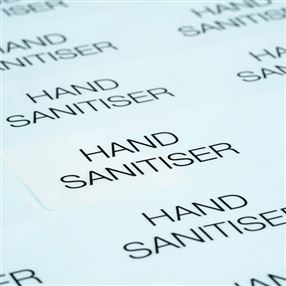 Hand Sanitiser Clear Labels - Sheet of 24