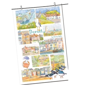 Tea Towel Emma Ball Regional Design / Dorset
