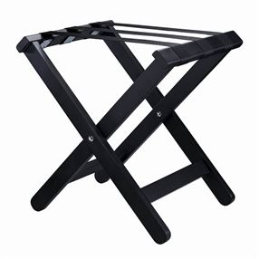 Compact Wooden Luggage Stand Black