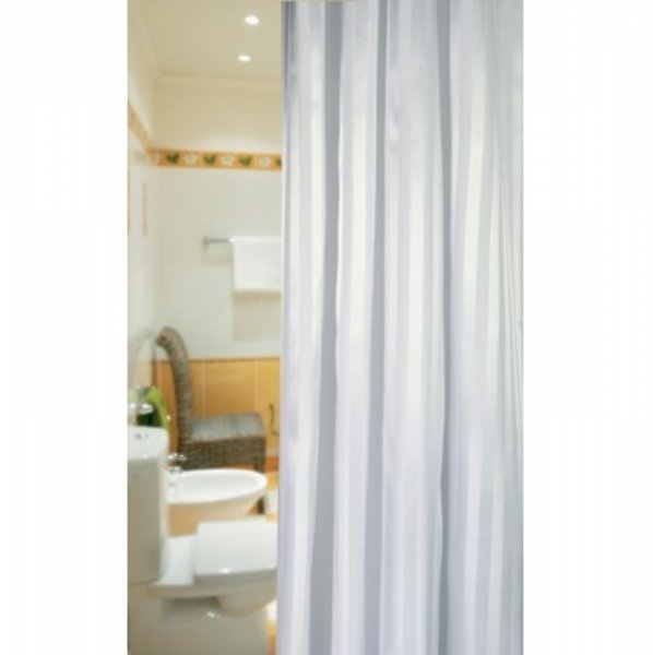 Extra Long Satin Stripe Shower Curtain - Out of Eden