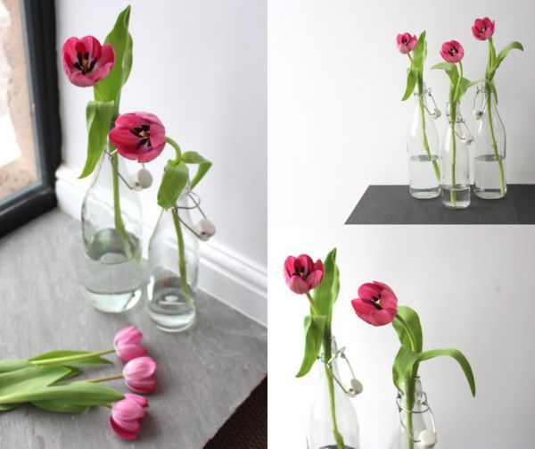 Tulips in a Glass Bottle