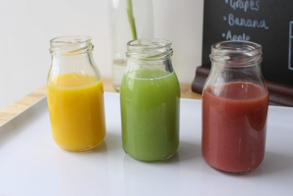 Smoothies in glass bottles