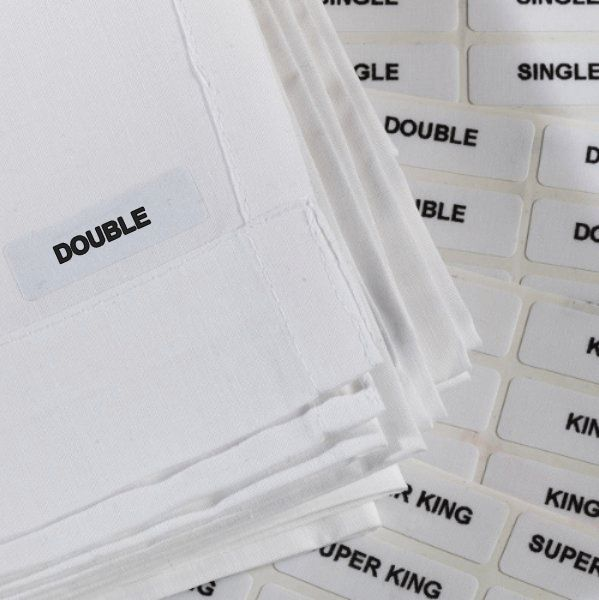 Iron on size labels